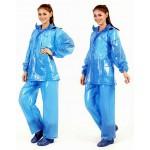 PVC Plastik - Anzug Regenanzug Damen modern 2-teilig Klettkragen blau gepunktet C888B