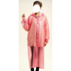 Plastik - Mantel Regenmantel Damen DD006 Pink gepunktet