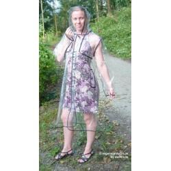 Plastik - Mantel Regenmantel Damen EVA Fashion Type L glasklar transparent Rand: schwarz LAGERWARE