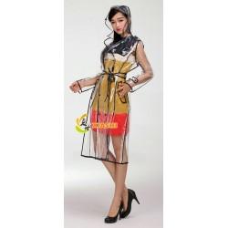 Plastik - Mantel Regenmantel Trenchcoat Damen EVA Fashion glasklar transparent Rand: schwarz