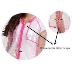 Plastik - Mantel Regenmantel Fashion Type L Reißverschluss glasklar transparent Rand: Pink - LAGERWARE