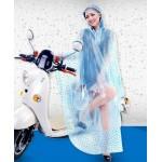 PVC - Poncho für Motorrad Mofa Motorroller Fahrrad KY0013TB transparent blaue Punkte