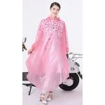 PVC - Schlupf-Regenmantel Cape-Mantel MJ-002PW pink transparent weiße Punkte