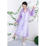 PVC Plastik - Mantel Regenmantel Damen QA9015LT lila transparent gepunktet