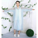 PVC Plastik - Mantel Regenmantel Damen QA9015NATB transparent mit blaue Punkte XXXL - LAGERWARE