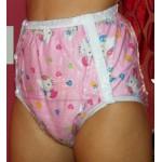FUUBUU - 2221-KT PVC Inkontinenz-Schutzhose Gummihose knöpfbar Schwedenknöpfer Hello Kitty rosa
