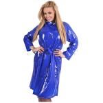 PUL PVC - Retro - Mantel Regenmantel 60er RA49 BLS2 royal blau glänzend - LAGERWARE