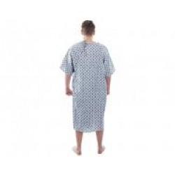 Suprima 4060-064 - Pflegehemd Baumwolle zum Binden in Nacken und Rücken kurzarm weiß bedruckt