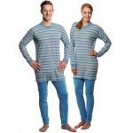 Suprima 4708-039 - Pyjama-Overall Baumwolle, lang, Rücken-RV, Bein-RV gestreift hellblau S-XL